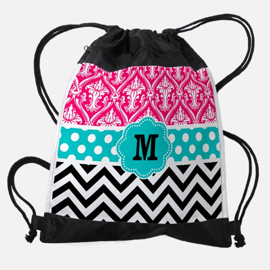 Pink Teal Black Chevron Damask Mono Drawstring Bag
