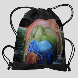 Elephant Family Drawstring Bag
