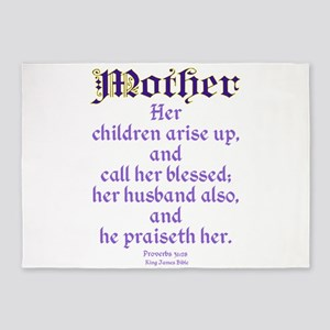 Mothers Day Bible Quote 5'x7'Area Rug