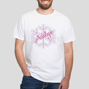 Ashlyn Snowflake Personalized White T-Shirt