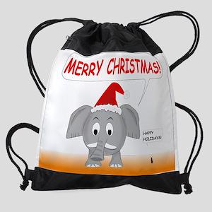Merry Christmas and Happy Holidays Drawstring Bag