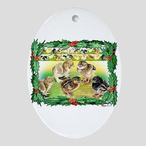 Chicks For Christmas! Oval Ornament