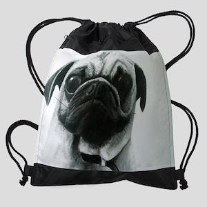 Portrait of a Little Pug Drawstring Bag
