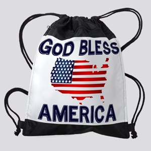 God-Bless-America-2-(white-shirt).p Drawstring Bag