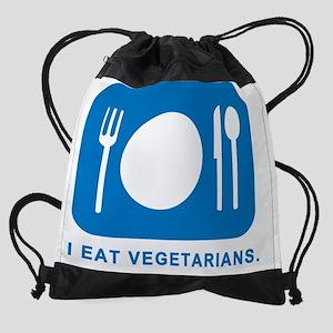 I Eat Vegetarians Drawstring Bag