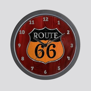 Rt 66 Wood Stone Steel Wall Clock
