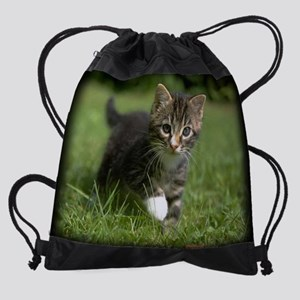 kittenclaenderprint Drawstring Bag