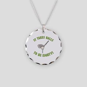 80th Birthday Golfing Gag Necklace Circle Charm