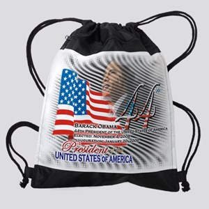 Obama 44th President Color Charcoal Drawstring Bag