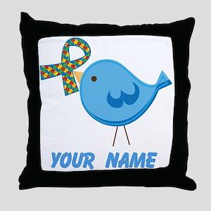 Personalized Autism Bird Throw Pillow