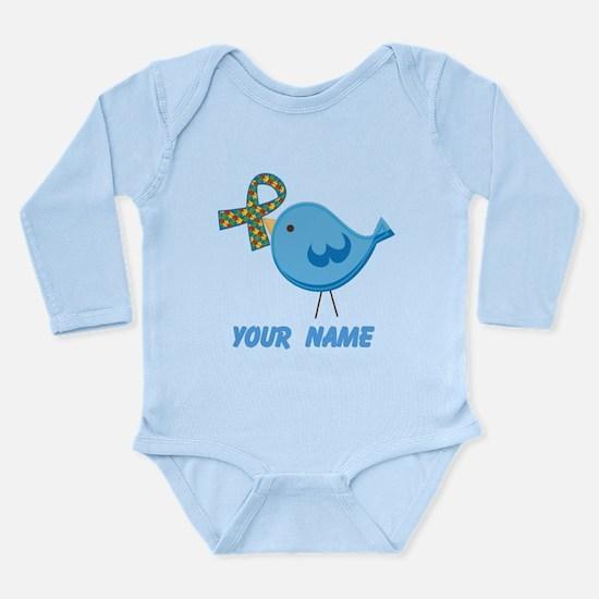 Personalized Autism Bird Long Sleeve Infant Bodysu