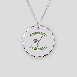 60th Birthday Golfing Gag Necklace Circle Charm