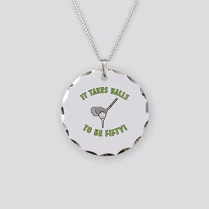50th Birthday Golfing Gag Necklace Circle Charm