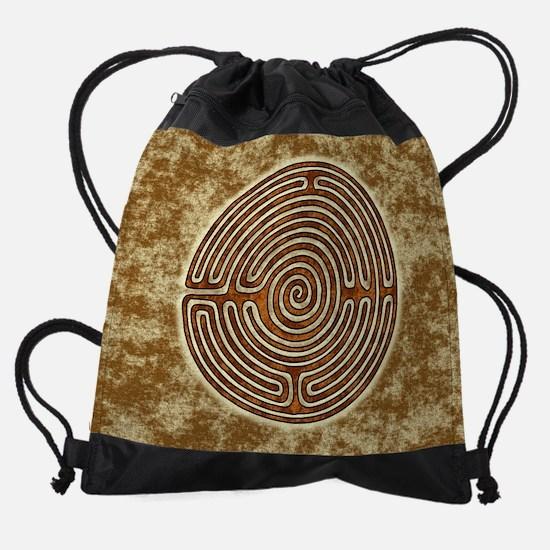 Brown Medieval Cathedral Labyrinth Drawstring Bag