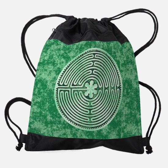 Green Chartres Cathedral Labyrinth Drawstring Bag