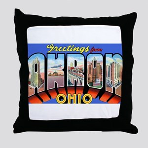 Akron Ohio Greetings Throw Pillow