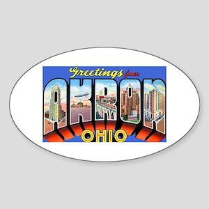Akron Ohio Greetings Oval Sticker