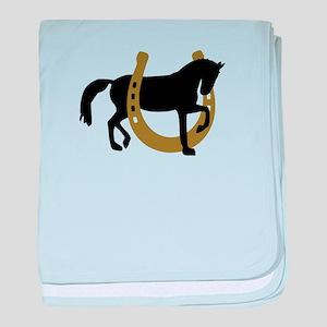 Horse horseshoe baby blanket