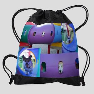 Playground corgi Drawstring Bag