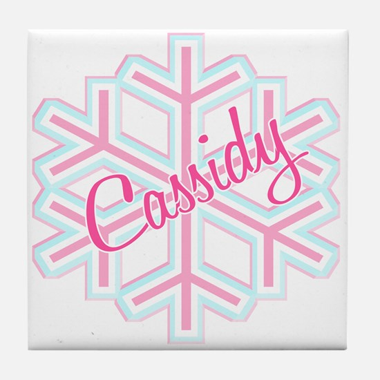 Cassidy Snowflake Personalized Tile Coaster