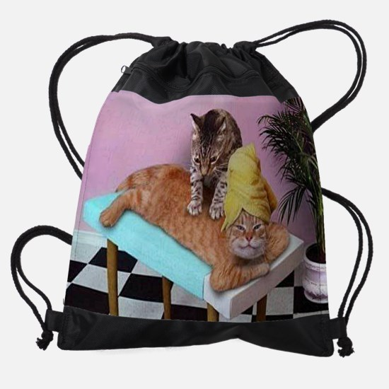 Funny Cat Massage Drawstring Bag