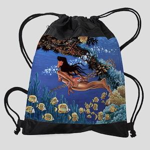 under water girl-300-dpi Drawstring Bag