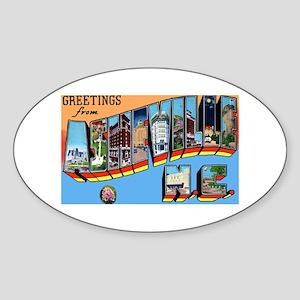 Asheville North Carolina Greetings Oval Sticker