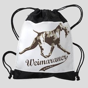 Weimaraner hunting dog with bird Drawstring Bag