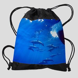 Dolphins Calendar Print Drawstring Bag