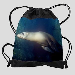 Sea Lion Calendar Print Drawstring Bag