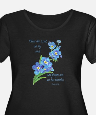Forget Me Not Flowers with Scripture Plus Size T-S