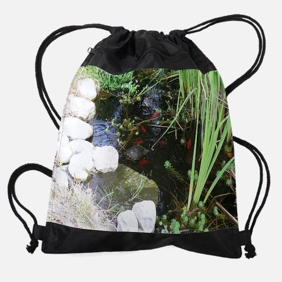 Pond Turtle Fish_11.5x9.jpg Drawstring Bag