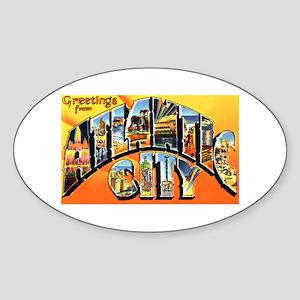 Atlantic City New Jersey Greetings Oval Sticker