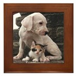 Dogo puppy with kitty Framed Tile