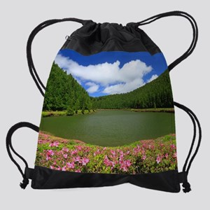 Lake and azaleas Drawstring Bag