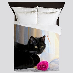Kitty and rose Queen Duvet