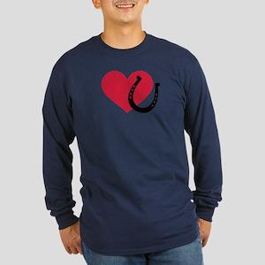 Horseshoe red heart Long Sleeve Dark T-Shirt