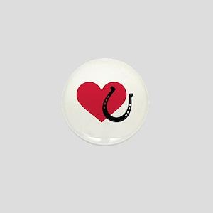 Horseshoe red heart Mini Button