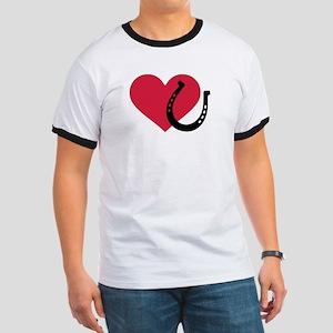 Horseshoe red heart Ringer T