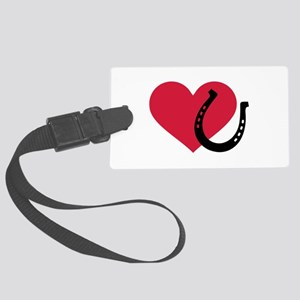 Horseshoe red heart Large Luggage Tag