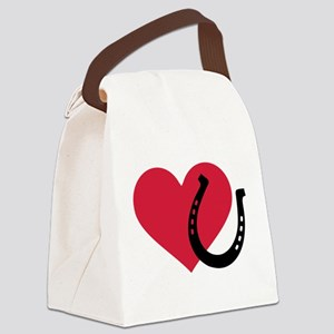 Horseshoe red heart Canvas Lunch Bag