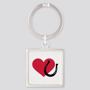 Horseshoe red heart Square Keychain
