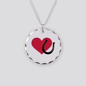 Horseshoe red heart Necklace Circle Charm