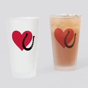Horseshoe red heart Drinking Glass