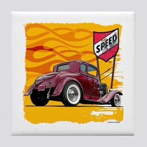 Speed Little Red Coupe Tile Coaster