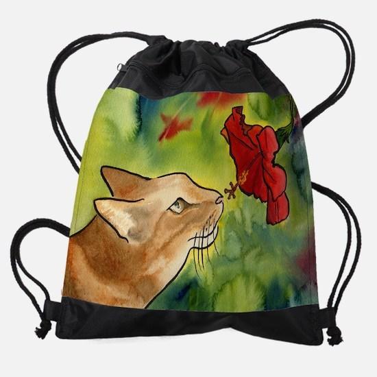 hibiscus cat.jpg Drawstring Bag