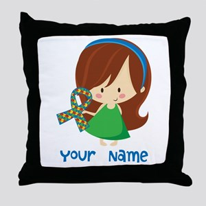 Personalized Autism Girl Throw Pillow