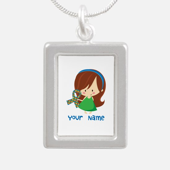 Personalized Autism Girl Silver Portrait Necklace