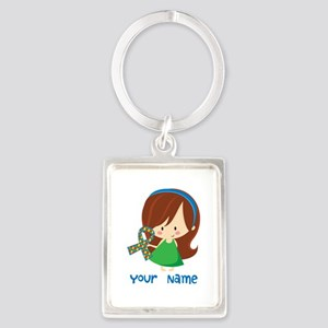 Personalized Autism Girl Portrait Keychain