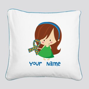 Personalized Autism Girl Square Canvas Pillow